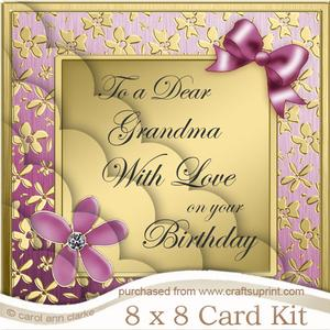 8 x 8 Floral Elegance Grandma Birthday Scalloped Corner Kit