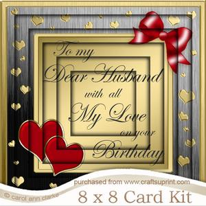 8 x 8 Husband Birthday Tunnel Card Kit