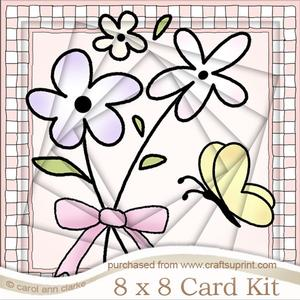 8 x 8 Flowers and Butterfly Twisted Tunnel Card Kit