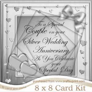 8 x 8 Silver Wedding Anniversary Twisted Tunnel Card Kit