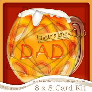 8 x 8 Mine's a Pint!! Best Dad Twisted Tunnel Card Kit
