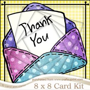 8 x 8 Thank You Patchwork Letter Twisted Tunnel Card Kit