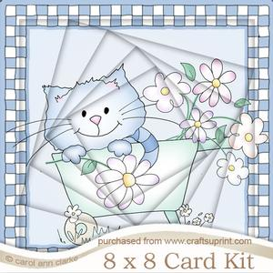 8 x 8 Cute Cat Twisted Tunnel Card Kit