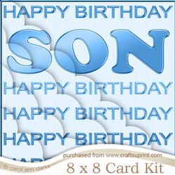 8 x 8 Son Birthday Kit with Scalloped Corners