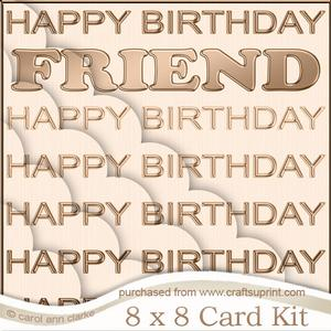 8 x 8 Friend Birthday Kit with Scalloped Corners