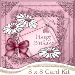8 x 8 Birthday Daisies Twisted Tunnel Card Kit