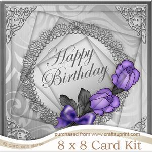 8 x 8 Roses and Metallic Lace Twisted Tunnel Card Kit