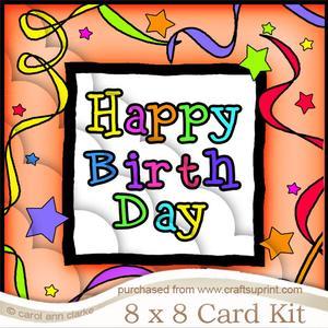 8 x 8 Happy Birthday Kit with Scalloped Corners