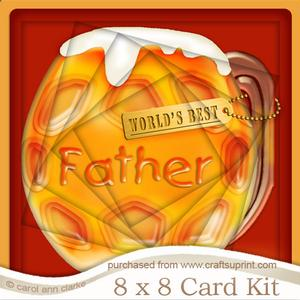 8x8 Mine's a Pint!! Worlds Best Father Twisted Tunnel Card