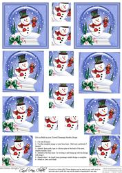 Xmas Snowman Snowglobe Twisted Pyramage Sheet