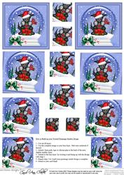 Xmas Hamish Scottie Dog Snowglobe Twisted Pyramage Sheet