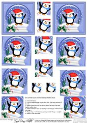 Xmas Peter Penguin Snowglobe Twisted Pyramage Sheet