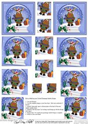 Xmas Rudolph Snowglobe Twisted Pyramage Sheet