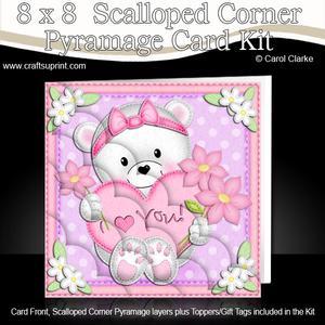 8 x 8 Teddy Tess's Heart Scalloped Corner Kit