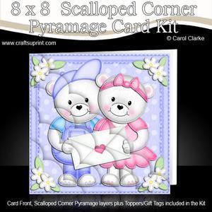 8 x 8 Teddies Love Letter Scalloped Corner Kit