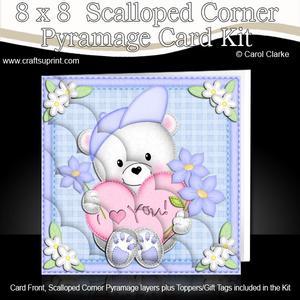 8 x 8 Teddy Ed's Heart Scalloped Corner Kit