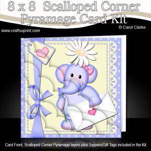 8 x 8 Elephant Lola's Flower Scalloped Corner Kit