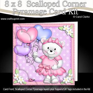 8 x 8 Teddy Tess's Balloons Scalloped Corner Kit