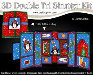 3D Xmas Penguin Double Tri Shutter Card Kit