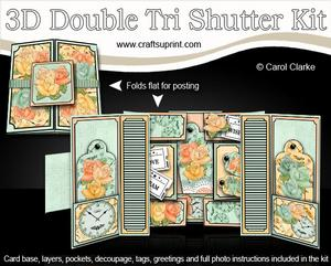 3D Time for Roses Double Tri Shutter Card Kit