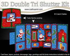 3D Xmas Santa Double Tri Shutter Card Kit