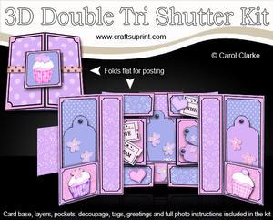 3D Cupcakes Double Tri Shutter Card Kit