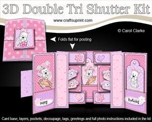3D Jess Westie Dog Double Tri Shutter Card Kit