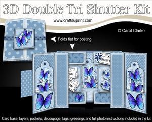 3D Butterflies Double Tri Shutter Card Kit