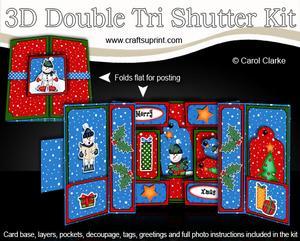 3D Xmas Snowman Double Tri Shutter Card Kit