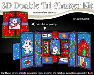 3D Xmas Ben Polar Bear Double Tri Shutter Card Kit