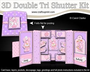 3D Lola Elephant Double Tri Shutter Card Kit