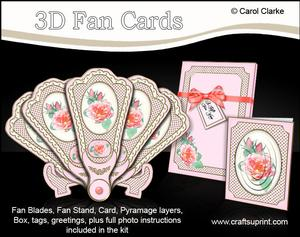3D Floral Fan Card Roses with Stand, Gift Card N Box