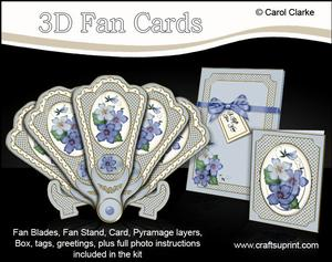 3D Floral Fan Card Violas with Stand, Gift Card N Box