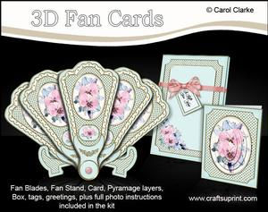 3D Floral Fan Card Spring Floral with Stand, Gift Card N Box