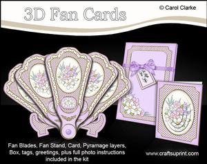 3D Floral Fan Card Spring Posy with Stand, Gift Card N Box