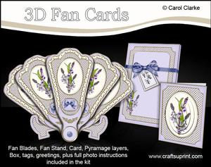 3D Floral Fan Card Bluebells with Stand, Gift Card N Box