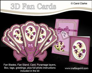 3D Floral Fan Card Pansies with Stand, Gift Card N Box