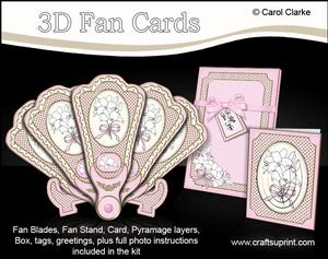 3D Floral Fan Card Lillies with Stand, Gift Card N Box