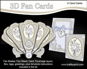 3D Floral Fan Card Fancy Florals with Stand, Gift Card N Box