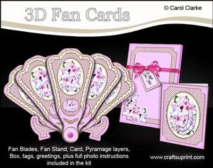 3D Floral Fan Card Floral Fancy with Stand, Gift Card N Box