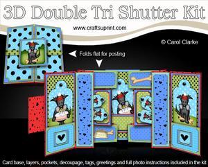 3D Hamish Scottie Dog Double Tri Shutter Card Kit