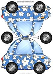 Funky Floral Car Shaped Card