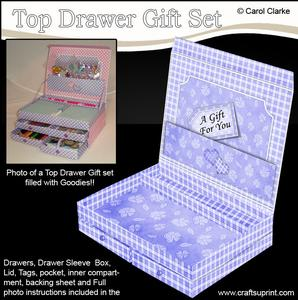 3D Pretty Gingham and Flowers Top Drawer Gift Set Kit