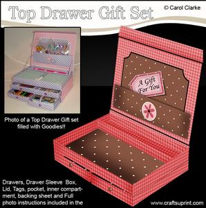 3D Gingham and Dots Top Drawer Gift Set Kit