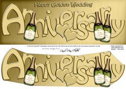 Golden Wedding Anniversary Large Dl Quick Card 3D Decoupage