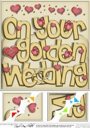 8 x 8 Golden Wedding Anniversary Scalloped Corner Topper