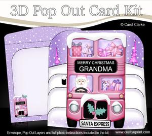 3D Xmas Santa Express Grandma Pop Out Card Kit