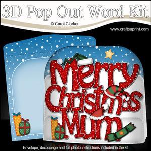 Merry Christmas Mum Xmas Hats Pop Out Xmas Word Card