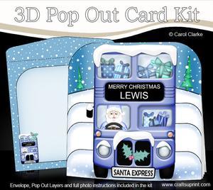 3D Xmas Santa Express Lewis Pop Out Card Kit