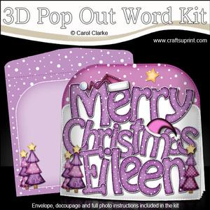 Merry Christmas Eileen Trees Pop Out Xmas Word Card